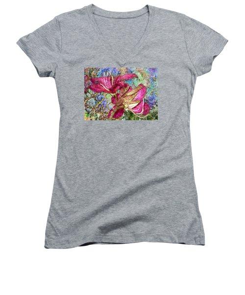 Batik Lilies Women's V-Neck