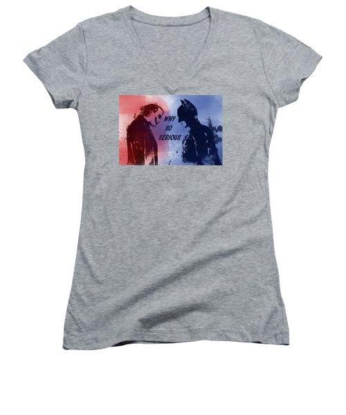 Batman And Joker Women's V-Neck T-Shirt