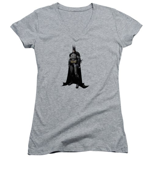 Women's V-Neck T-Shirt (Junior Cut) featuring the mixed media Batman Splash Super Hero Series by Movie Poster Prints
