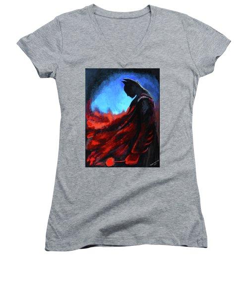 Batman's Mercy Women's V-Neck T-Shirt (Junior Cut) by Brandy Nicole Neal