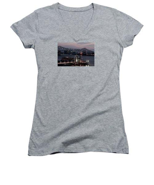 Baton Rouge Bridge Women's V-Neck T-Shirt (Junior Cut) by Helen Haw