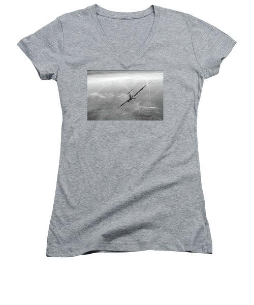 Women's V-Neck T-Shirt (Junior Cut) featuring the photograph Battle Of Britain Spitfires Over Kent by Gary Eason