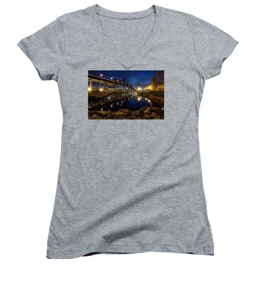 Battleship Cove, Fall River, Ma Women's V-Neck T-Shirt (Junior Cut) by Betty Denise