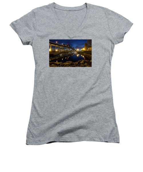 Battleship Cove, Fall River, Ma Women's V-Neck (Athletic Fit)