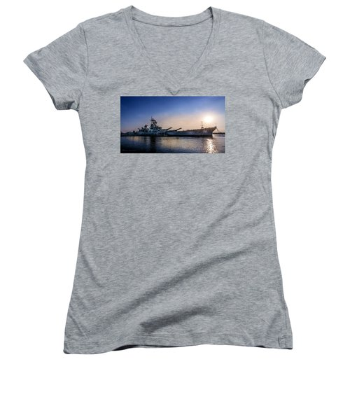 Women's V-Neck T-Shirt (Junior Cut) featuring the photograph Battleship New Jersey by Marvin Spates