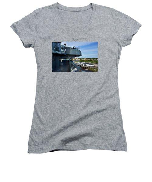 Battleship View Of Wilmington Nc Women's V-Neck T-Shirt (Junior Cut) by Denis Lemay