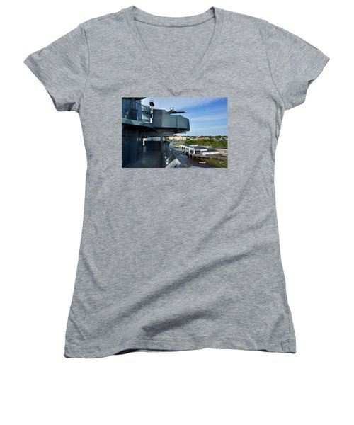 Battleship View Of Wilmington Nc Women's V-Neck (Athletic Fit)