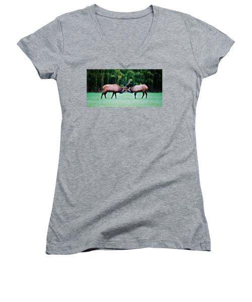 Women's V-Neck T-Shirt (Junior Cut) featuring the photograph Battling Bulls by Lana Trussell