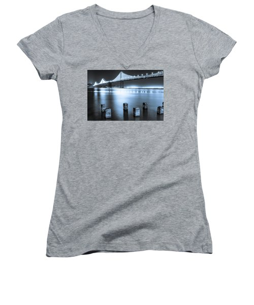 Bay Bridge 1 In Blue Women's V-Neck