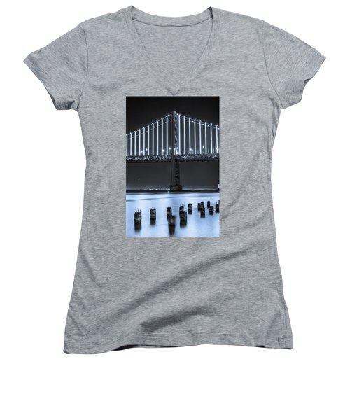 Bay Bridge 2 In Blue Women's V-Neck T-Shirt