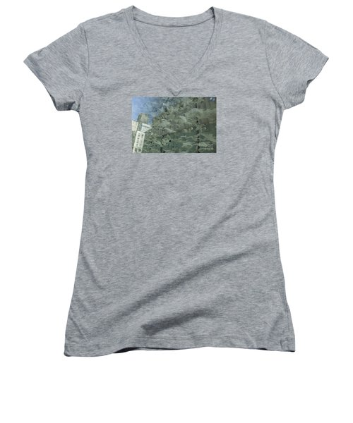 Women's V-Neck T-Shirt (Junior Cut) featuring the photograph Bay City Reflections by Jeanette French