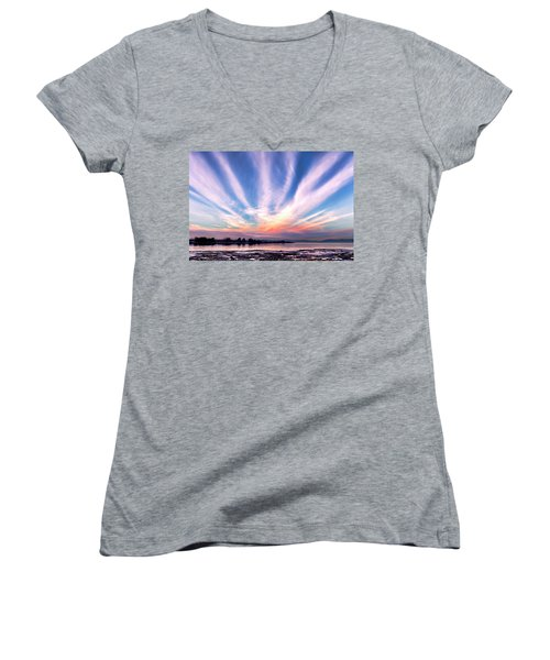 Bay Farm Island Sunrise Women's V-Neck T-Shirt