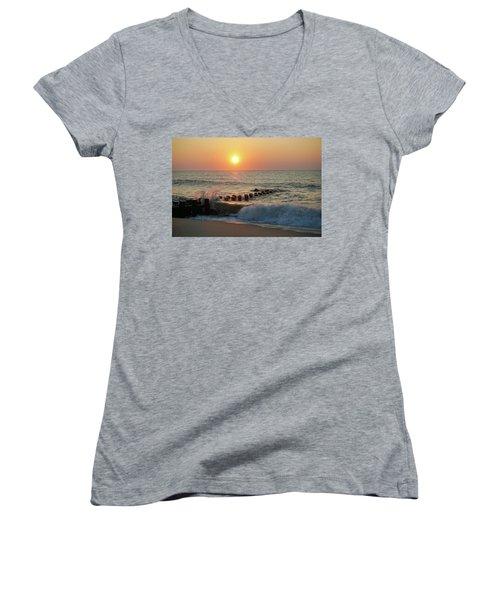 Bay Head Beach Sunrise 1 Women's V-Neck T-Shirt