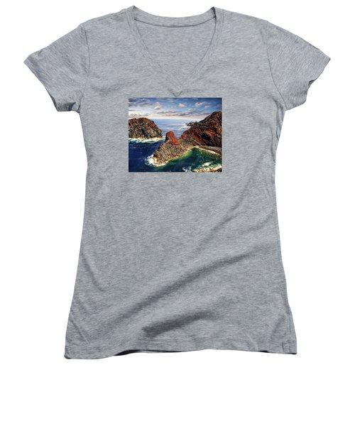 Bay Of Ponta Da Barca Women's V-Neck T-Shirt (Junior Cut) by Anthony Dezenzio