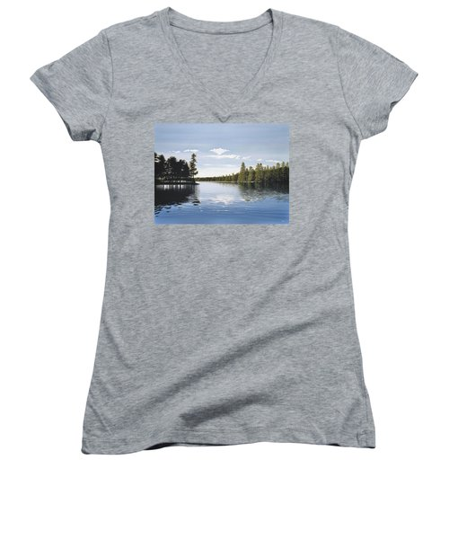 Bay On Lake Muskoka Women's V-Neck T-Shirt