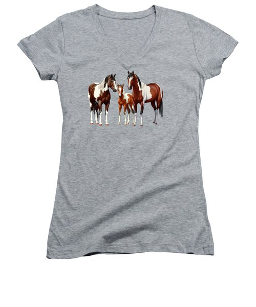 Bay Paint Horses In Winter Women's V-Neck