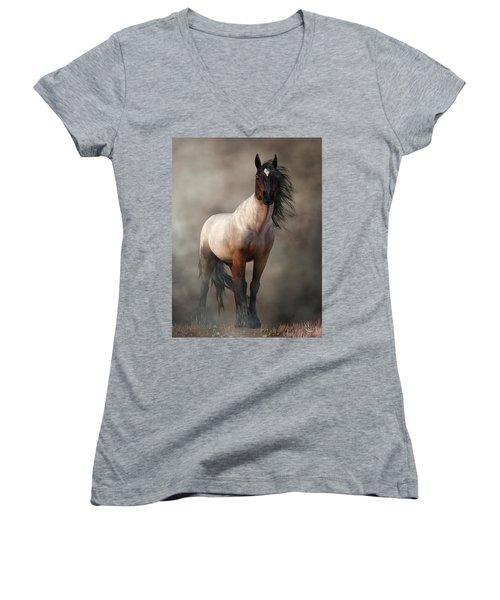 Bay Roan Horse Art Women's V-Neck (Athletic Fit)