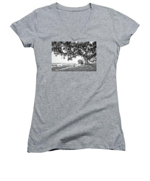 Bay Street Oak View Women's V-Neck T-Shirt (Junior Cut) by Scott Hansen