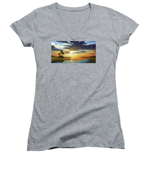Bay Sunset Women's V-Neck T-Shirt (Junior Cut) by Rick McKinney