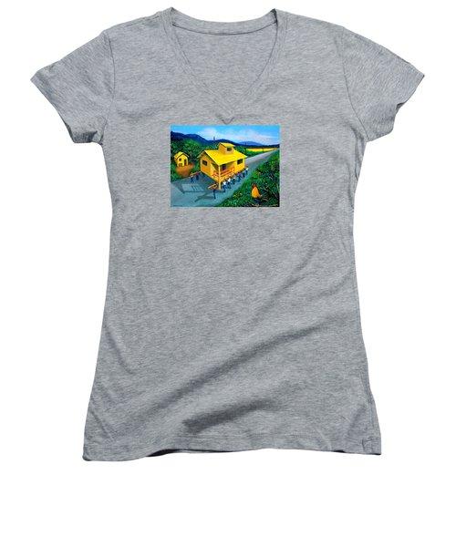 Bayanihan Women's V-Neck T-Shirt (Junior Cut) by Cyril Maza