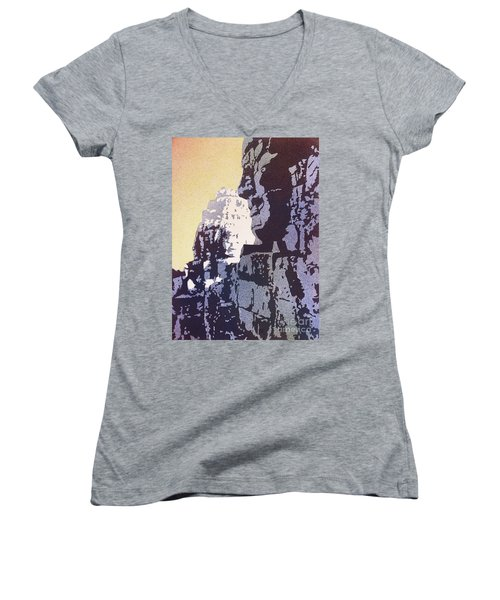 Bayon Temple- Angkor Wat, Cambodia Women's V-Neck T-Shirt (Junior Cut) by Ryan Fox