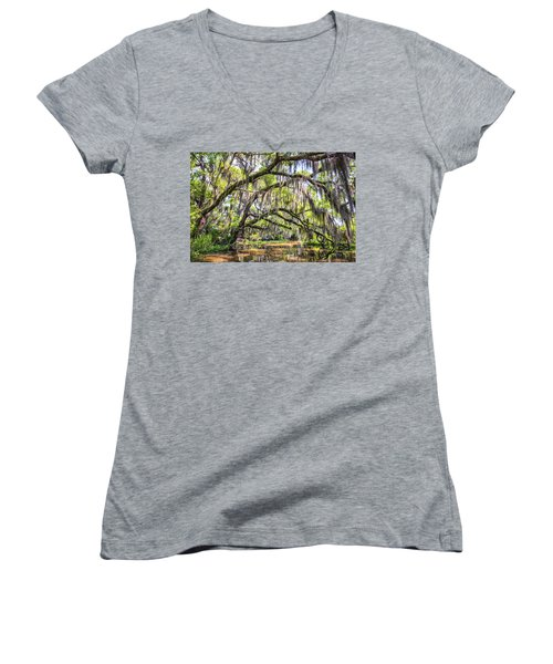 Bayou Cathedral Women's V-Neck T-Shirt (Junior Cut) by Andy Crawford