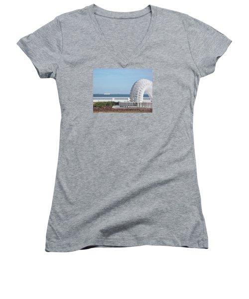 Bayshore Boulevard Sculpture Women's V-Neck T-Shirt (Junior Cut) by Gail Kent
