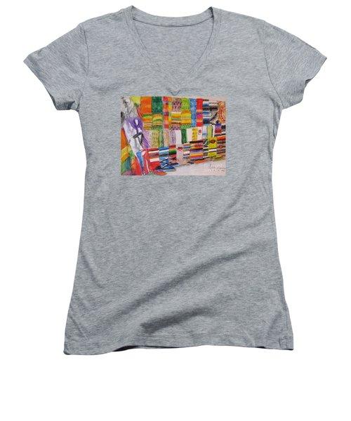 Bazaar Sabado - Gifted Women's V-Neck T-Shirt (Junior Cut) by Judith Espinoza