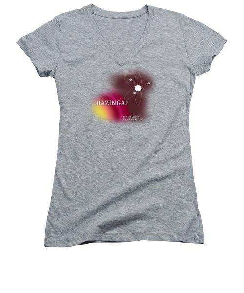 Bazinga Women's V-Neck T-Shirt (Junior Cut) by Paulette B Wright