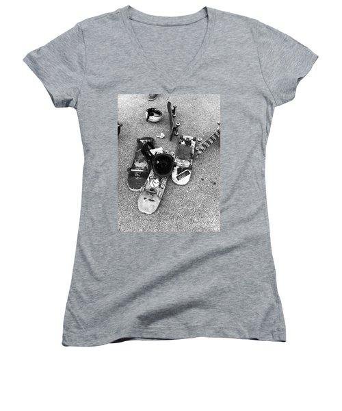 Bored Boards Women's V-Neck T-Shirt (Junior Cut) by WaLdEmAr BoRrErO