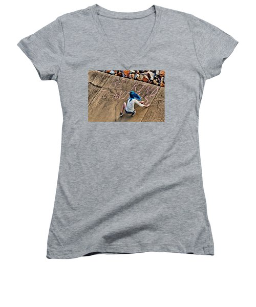 Women's V-Neck T-Shirt (Junior Cut) featuring the photograph Be Kind To Animals by Linda Unger