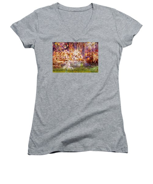 Be Still And Know Women's V-Neck T-Shirt (Junior Cut) by Dolores Develde