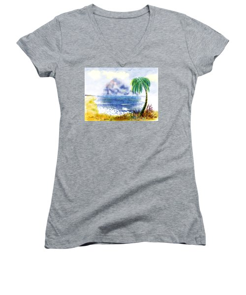 Beach And Palm Tree Of D.r.  Women's V-Neck T-Shirt