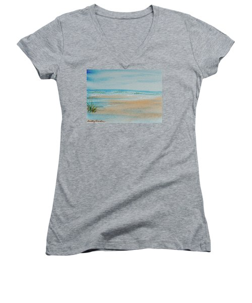 Women's V-Neck featuring the painting Beach At High Tide by Dorothy Darden