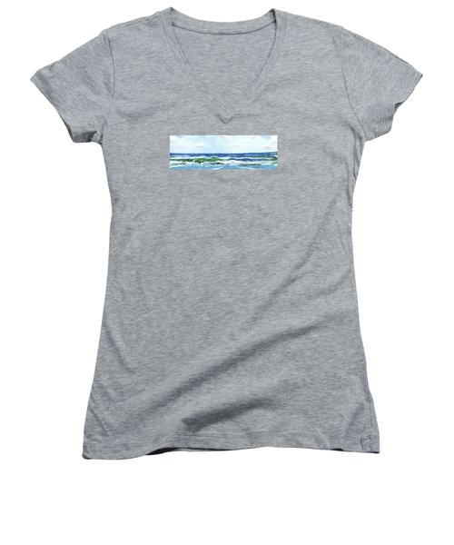 Beach At Isle Of Palms Two Women's V-Neck T-Shirt