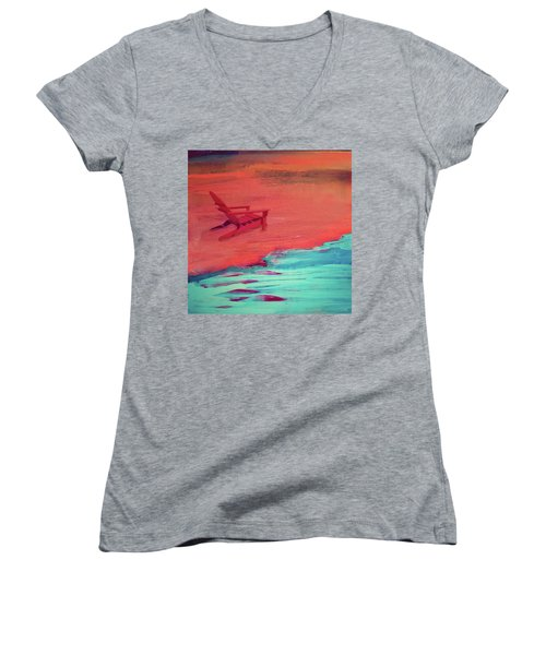 Beach At Night Women's V-Neck (Athletic Fit)