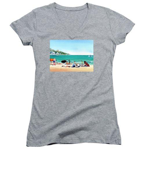 Beach At Roses, Spain Women's V-Neck