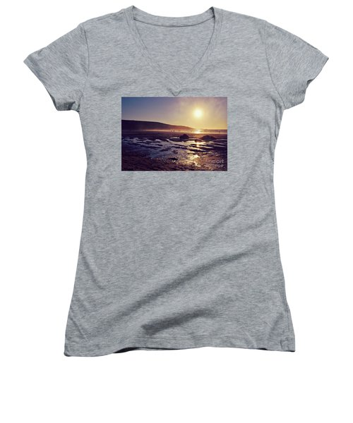 Women's V-Neck T-Shirt (Junior Cut) featuring the photograph Beach At Sunset by Lyn Randle