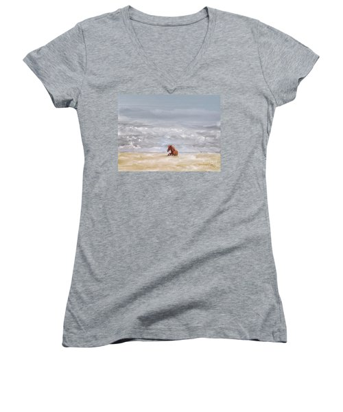 Women's V-Neck T-Shirt (Junior Cut) featuring the photograph Beach Baby by Lois Bryan