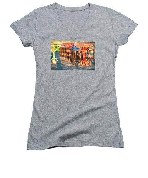 Beach Bar Morning Women's V-Neck T-Shirt (Junior Cut) by Glenn Gemmell