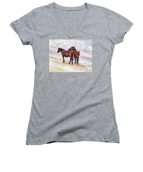 Women's V-Neck T-Shirt (Junior Cut) featuring the photograph Beach Buddies by Lois Bryan