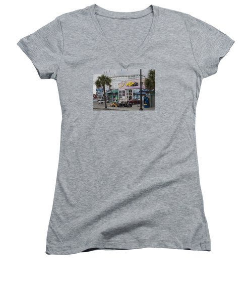 Beach Bums - Myrtle Beach South Carolina Women's V-Neck T-Shirt (Junior Cut) by Suzanne Gaff