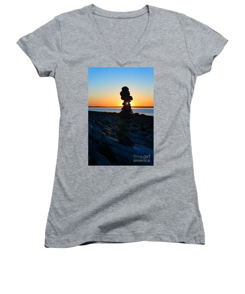 Beach Cairn At Sunrise Women's V-Neck (Athletic Fit)