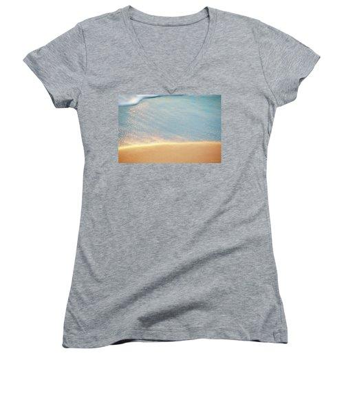 Beach Caress Women's V-Neck T-Shirt (Junior Cut) by Glenn Gemmell