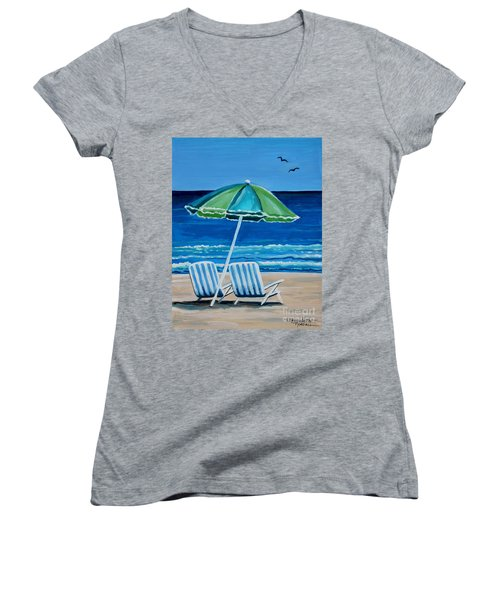 Beach Chair Bliss Women's V-Neck (Athletic Fit)