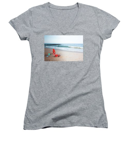 Beach Chair By The Sea Women's V-Neck
