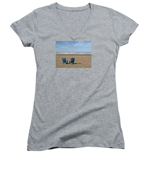 Beach Chair Pair Women's V-Neck T-Shirt (Junior Cut) by Suzy Piatt