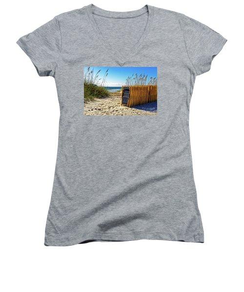 Beach Chairs Women's V-Neck T-Shirt (Junior Cut) by Paul Mashburn