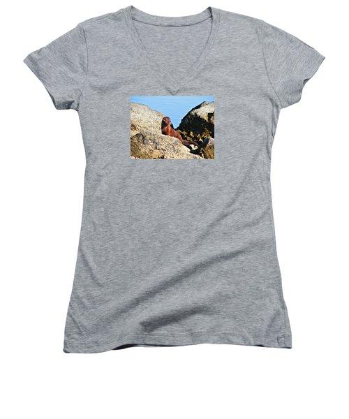 Beachcomber Women's V-Neck T-Shirt (Junior Cut) by Laura Ragland