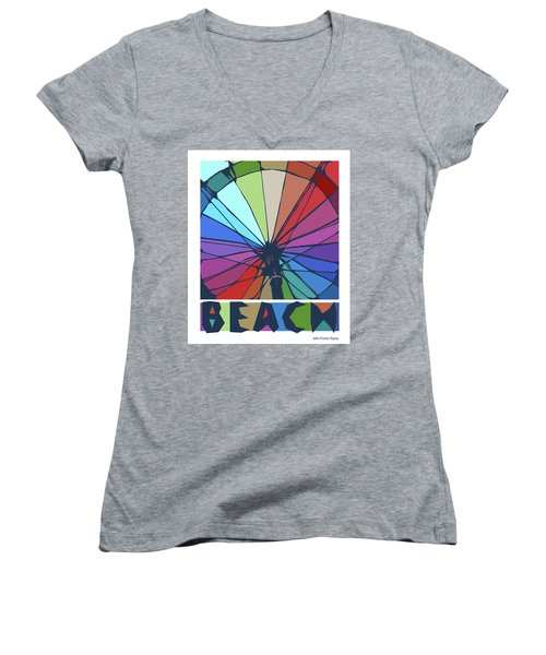 Beach Design By John Foster Dyess Women's V-Neck (Athletic Fit)